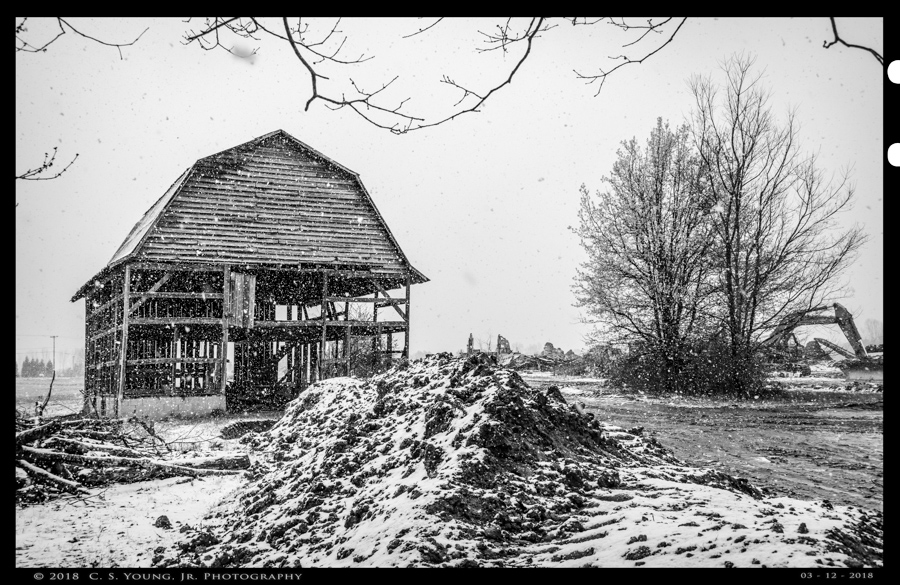 Falling Snow On Falling Barn 1